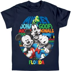 Boys T-Shirt Just Us Three Mickey Goofy Donald, Navy (Florida Namedrop)