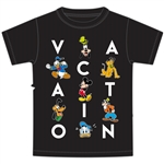 Youth Boys Tee Mickey Goofy Donald Pluto Vacation Fun, Black