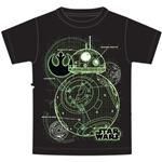 Youth Boys T Shirt Star Wars BB8 Map, Black (No Namedrop Allowed)