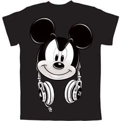 Youth Boys T Shirt Mickey Hedfowns (Headphones), Black