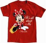 Girls T-Shirt All About Me Minnie, Red (Florida Namedrop)