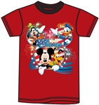 Youth Tee Shirt Disney USA Mickey Group, Red
