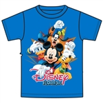 Youth Tee Shirt 4 Burst Mickey Donald Pluto Goofy, Royal Blue (Florida Namedrop)