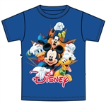 Youth T-Shirt 4 Burst Mickey Donald Pluto Goofy, Royal Blue