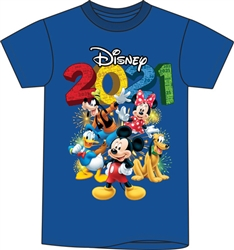 Youth 2021 Fun Friends Mickey Minnie Pluto Donald Goofy Tee, Royal Blue