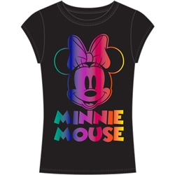 Youth Girls Fashion Top Happy Minnie Mouse Face, Black