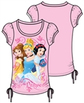 Youth Girls Fashion Top Side Tie Royal Princess Belle Cinderella Snow White, Light Pink