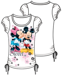 Youth Girls Fashion Top Side Tie Minnie Mickey Sweetie, White