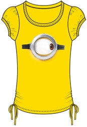 Youth Girls Fashion Side Tie Minions One Eyed Right Top, Yellow