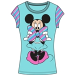 Youth Girls Fashion Stripe Sleeve Top Minnie Stripe Bow, Bleached Teal