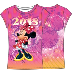 Youth Fashion Top 2018 Celebrate Minnie Dated Sublimated Top, Multi Color