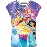 Youth Girls 2020 Princess Belle Sleeping Beauty Jasmine Ariel Snow White Tiana Fashion Top, Multicolored