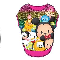 Youth Girls Glitter Sublimated Top Tsum Tsum Glitter, Pink