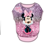 Youth Girls Glitter Sublimated Top Minnie Sparkles, Pink