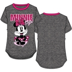 Youth Girls Ringer Tee Minnie Sitting in Style, Charcoal & Fuchsia