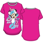 Youth Girls Ringer Tee Minnie Mouse Real Unicorn, Fuchsia & Grey