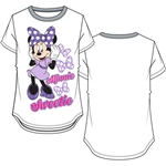 Youth Girls Ringer Tee Minnie Sweetie, White & Gray