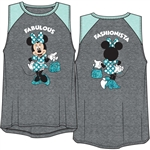 Youth Girls Raglan Front Back Tank Top Minnie Mouse Fashionista, Gray & Fresh Mint