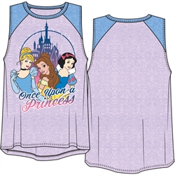 Youth Girls Raglan Tank Top Once Upon A Princess Cinderella, Bella, Snow White, Lilac & Periwinkle
