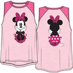 Youth Girls Raglan Front Back Tank Top Minnie Dots Sitting, Pastel Pink & Fuschia