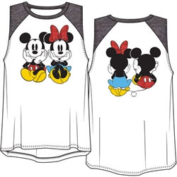 Youth Girls Raglan Front Back Tank Top Mickey Minnie Sitting , White Black