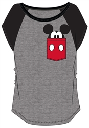 Youth Mickey Peeking Pocket Tee, Charcoal