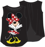 Youth Girls Tank Open Back Minnie Uh Oh, Black