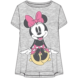 Youth Girls Fashion Hi Lo Top Cute Minnie Seated Pose, Heather Gray