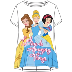 Youth Girls Fashion Hi Lo Top We Are Amazing Princesses Belle Cinderella Snow White, White