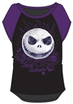 Youth Girls Nightmare Before Christmas Jack Face Top, Black Purple