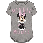 Youth Girls Sitting Minnie Mouse Hi Lo Top, Gray Pink