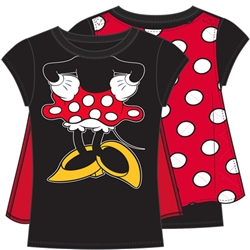 Youth Girls Minnie Mouse Cape Tee, Black Red