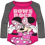 Youth Girls Bows Rock Minnie Mouse Long Sleeve Tee, Pink Gray
