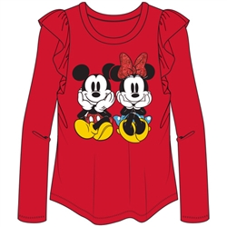 Youth Girls Mickey Minnie Sit Long Sleeve Flutter, Red