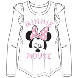 Youth Girls Minnie Mouse face Long Sleeve Flutter, White