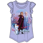 Girls Frozen II Anna Elsa & Olaf Flutter Sleve Top, Purple