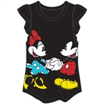 Youth Girls Holding Hands Mickey Minnie Flutter Sleeve Top, Black