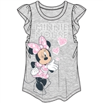 Youth Girls Minnie Blow a Kiss Flutter Sleeve Top, Gray Pink
