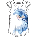 Girls Frozen II Elsa & Stallion Flutter Sleeve Top, White