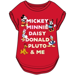Youth Girls Fantastic Five Mickey Minnie Daisy Donald Pluto Hi Lo Cuffed Sleeve, Red