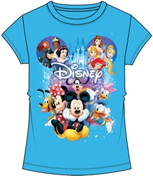 Youth Girls Fashion Top Mickey Minnie Group Spectacular Cast, Aqua Blue