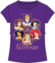 Youth Girls Fashion Top Cinderella Snow White Ariel Rapunzel Jasmine Belle Princess Group, Purple