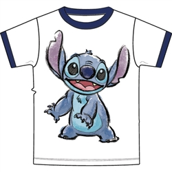Youth T-Shirt Stitch Watercolor, White Navy