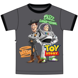Youth Ringer Tee Toys Story Woody Buzz, Charcoal & Black