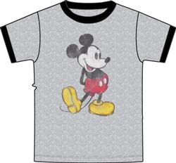Boys Ringer T Shirt Nostalgia Mickey, Grey Heather