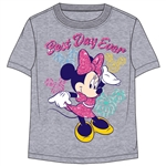 Toddler Girls T Shirt Minnie Mouse Best Day Ever, Gray