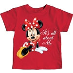 Toddler Girls T Shirt All About Me Minnie, Red