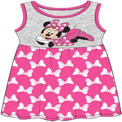 Toddler Cute Minnie Mouse Tank Dress, Pink Gray
