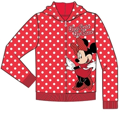 Toddler Too Cute to Care Minnie Zip Up Hoodie, Red White Polka Dots