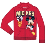 Toddler Boys Mickey 28 Ranks Zipper Hoodie, Red